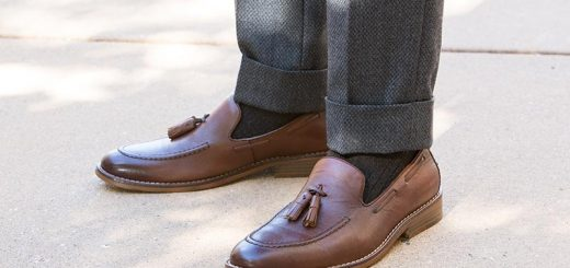 best-shoes-business-casual-men-brown-leather-tassel-loafers-grey-pants-two-inch-cuff