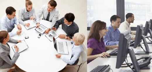 escoger entre mesas redondas y cuadradas para la oficina