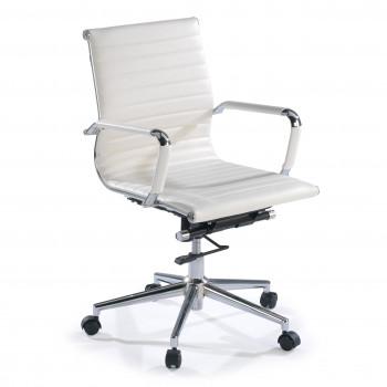 Slim - Sillón de oficina Slim bajo ecopiel blanco - Imagen 1