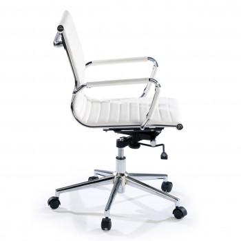 Slim - Sillón de oficina Slim bajo ecopiel blanco - Imagen 2