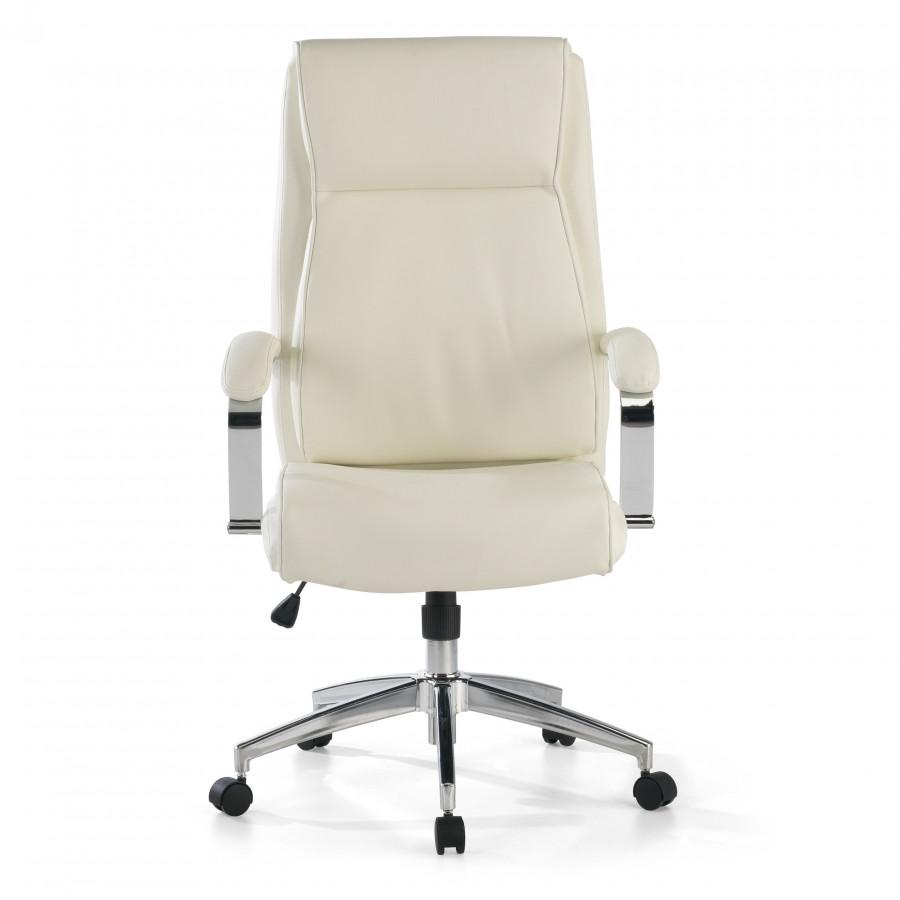Sillón de oficina Tauro, brazos tapizados  ecopiel Blanco