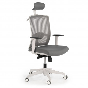 Kendo - Silla de oficina Kendo white, brazos ajustables, reposacabezas, red gris - Imagen 1