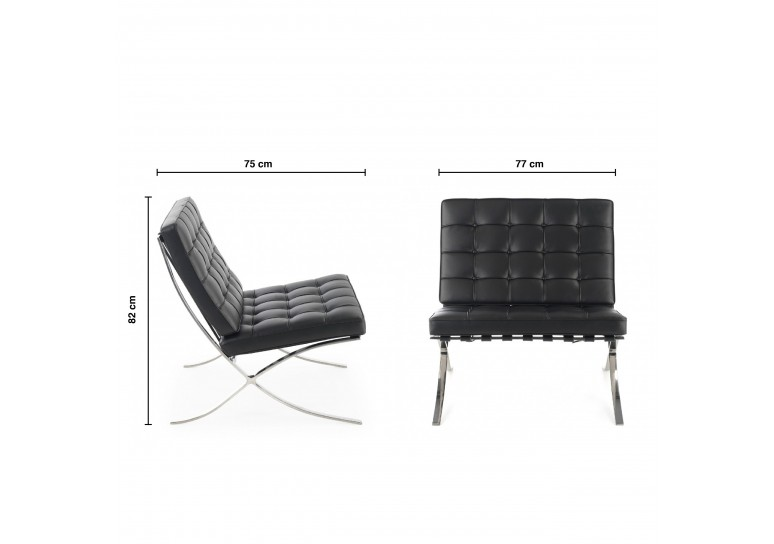 Sillon de espera de diseño Barna ecopiel negro