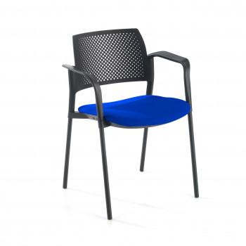 Kyoto - Silla confidente kyoto 4 patas con brazos tapizada azul - Imagen 1