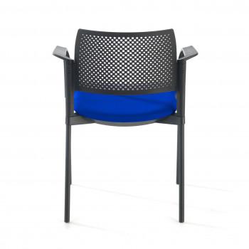 Kyoto - Silla confidente kyoto 4 patas con brazos tapizada azul - Imagen 2