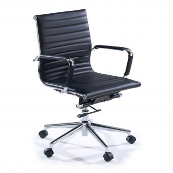 Slim - Sillón de oficina Slim bajo ecopiel negro - Imagen 1