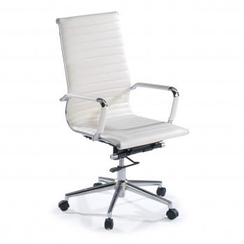 Slim - Sillón de oficina Slim alto ecopiel blanco - Imagen 1