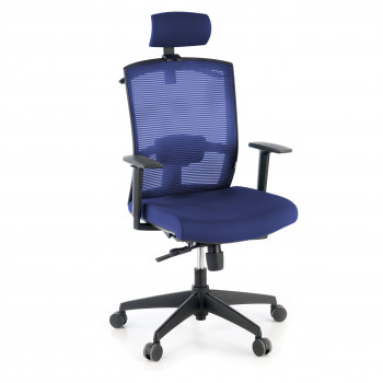 Kendo - Silla de oficina Kendo, brazos ajustables, reposacabezas, red azul - Imagen 1