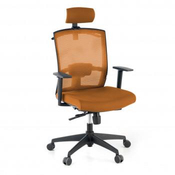 Kendo - Silla de oficina Kendo, brazos ajustables, reposacabezas, red naranja - Imagen 1