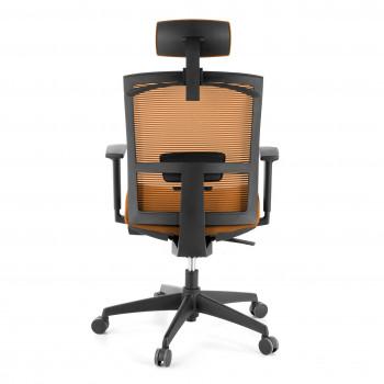 Kendo - Silla de oficina Kendo, brazos ajustables, reposacabezas, red naranja - Imagen 2