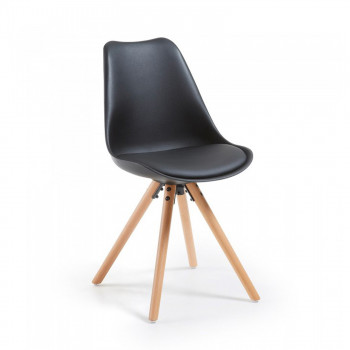 Nordic - Silla confidente de diseño Nordic, patas de madera, Negro - Imagen 1