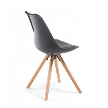 Nordic - Silla confidente de diseño Nordic, patas de madera, Negro - Imagen 2
