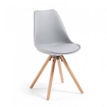 Nordic - Silla confidente de diseño Nordic, patas de madera, Gris - Imagen 1