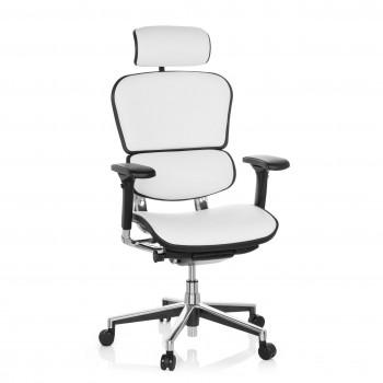 Keystone - Silla ergonómica Keystone, aluminio, sincro, reposacabezas, Piel Blanco - Imagen 1