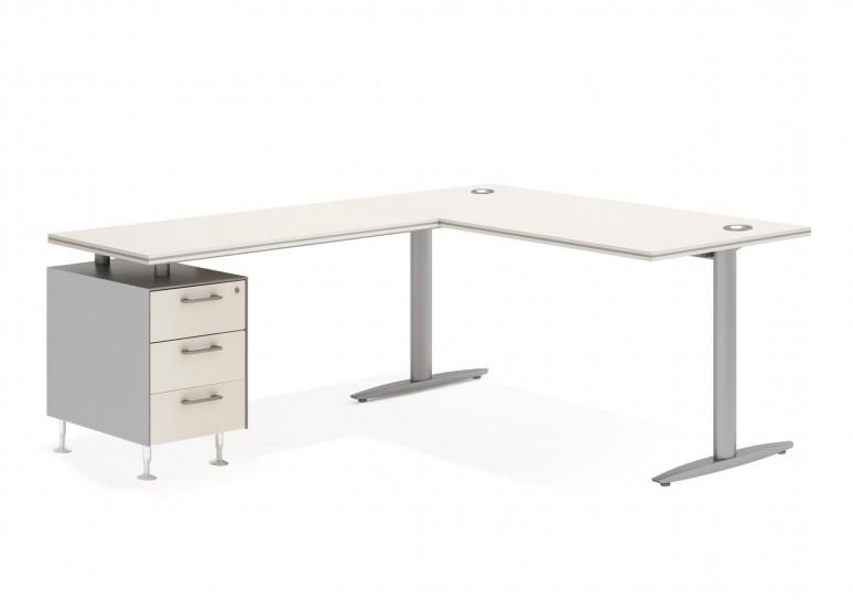 Work due mesa con cajonera 3 cajones aluminio