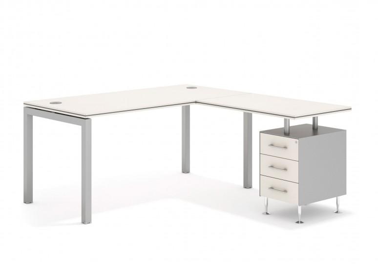 Work quattro mesa con cajonera 3 cajones aluminio