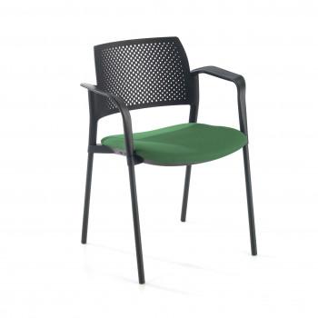 Kyoto - Silla confidente kyoto 4 patas con brazos tapizada verde - Imagen 1