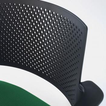 Kyoto - Silla confidente kyoto 4 patas con brazos tapizada verde - Imagen 2