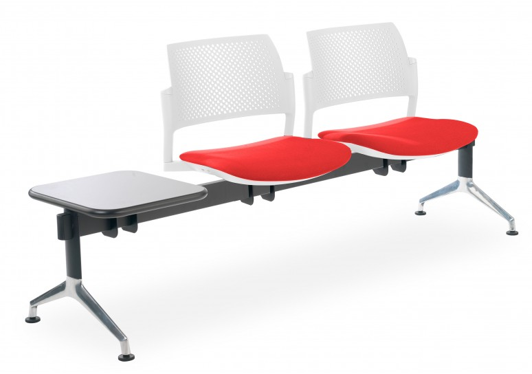 Bancada kyoto tapizada 2 asientos+mesa blanco