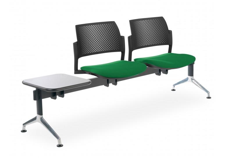 Bancada kyoto tapizada 2 asientos+mesa negro