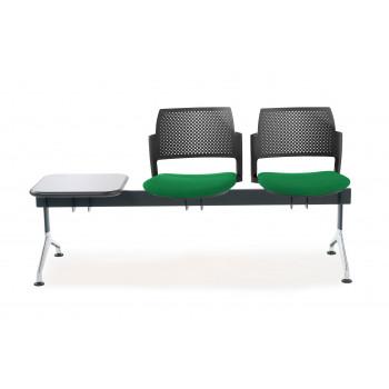 Bancada kyoto - Bancada sala de espera Kyoto tapizada 2 asientos+mesa negro - Imagen 2