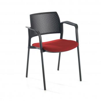 Kyoto - Silla confidente kyoto 4 patas con brazos tapizada rojo - Imagen 1