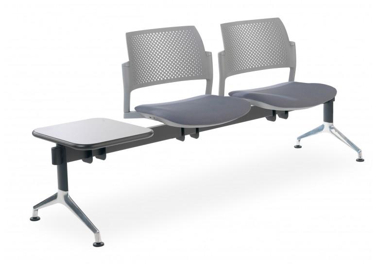 Bancada kyoto tapizada 2 asientos+mesa gris