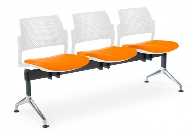 Bancada kyoto tapizada 3 asientos blanco