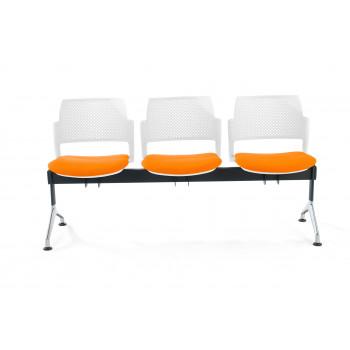 Bancada kyoto - Bancada sala de espera Kyoto tapizada 3 asientos blanco - Imagen 2