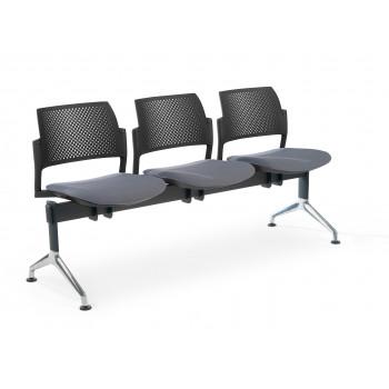 Bancada kyoto - Bancada sala de espera Kyoto tapizada 3 asientos negro - Imagen 1