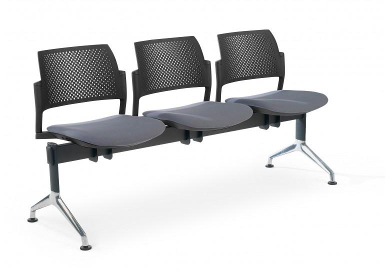 Bancada kyoto tapizada 3 asientos negro