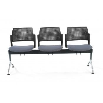 Bancada kyoto - Bancada sala de espera Kyoto tapizada 3 asientos negro - Imagen 2