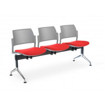 Bancada kyoto - Bancada sala de espera Kyoto tapizada 3 asientos gris - Imagen 1