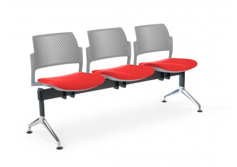 Bancada kyoto tapizada 3 asientos gris