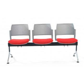 Bancada kyoto - Bancada sala de espera Kyoto tapizada 3 asientos gris - Imagen 2