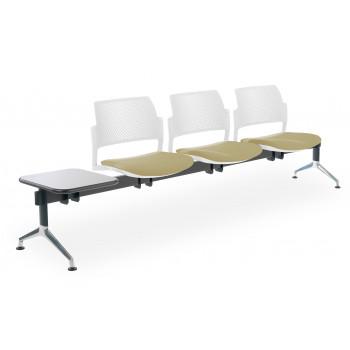 Bancada kyoto - Bancada sala de espera Kyoto tapizada 3 asientos+mesa blanco - Imagen 1