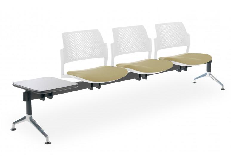 Bancada kyoto tapizada 3 asientos+mesa blanco