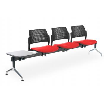 Bancada kyoto - Bancada sala de espera Kyoto tapizada 3 asientos+mesa negro - Imagen 1
