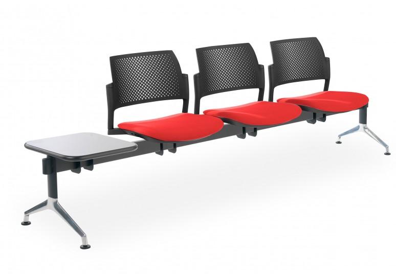 Bancada kyoto tapizada 3 asientos+mesa negro