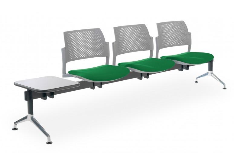 Bancada kyoto tapizada 3 asientos+mesa gris