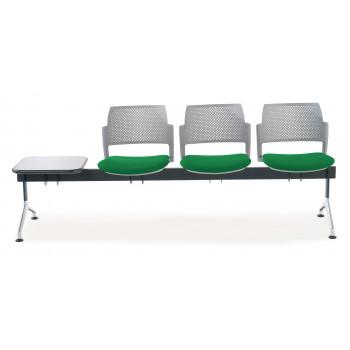 Bancada kyoto - Bancada sala de espera Kyoto tapizada 3 asientos+mesa gris - Imagen 2