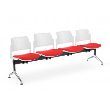 Bancada kyoto - Bancada sala de espera Kyoto tapizada 4 asientos blanco - Imagen 1