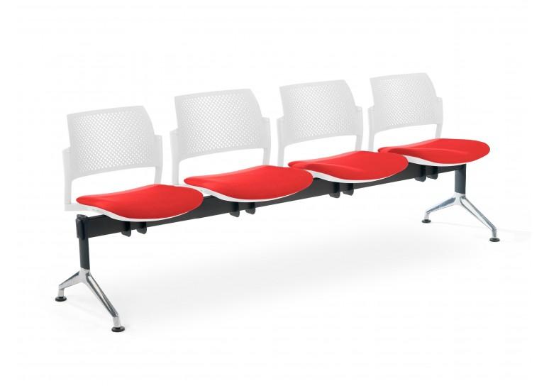 Bancada kyoto tapizada 4 asientos blanco