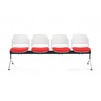 Bancada kyoto - Bancada sala de espera Kyoto tapizada 4 asientos blanco - Imagen 2