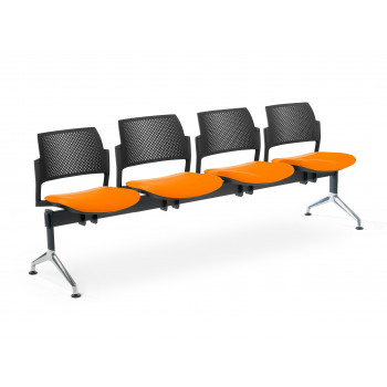 Bancada kyoto - Bancada sala de espera Kyoto tapizada 4 asientos negro - Imagen 1