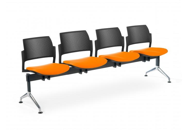 Bancada kyoto tapizada 4 asientos negro