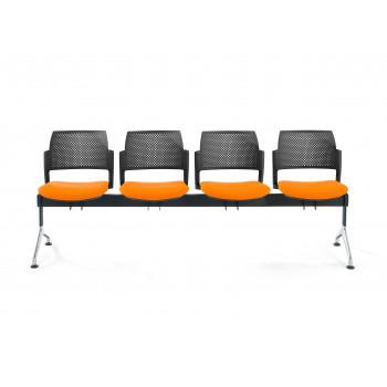 Bancada kyoto - Bancada sala de espera Kyoto tapizada 4 asientos negro - Imagen 2