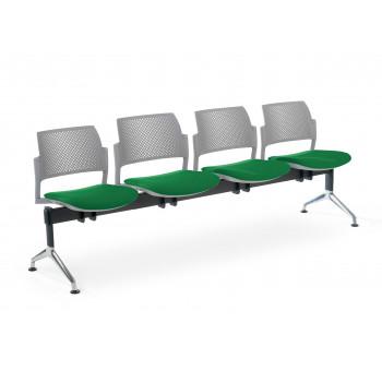 Bancada kyoto - Bancada sala de espera Kyoto tapizada 4 asientos gris - Imagen 1