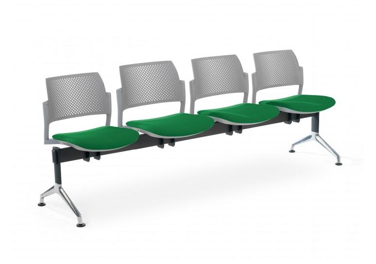 Bancada kyoto tapizada 4 asientos gris