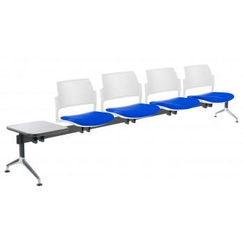Bancada kyoto - Bancada sala de espera Kyoto tapizada 4 asientos+mesa blanco - Imagen 1